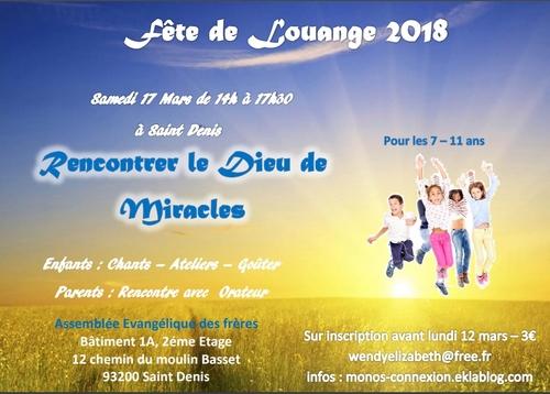 Fête de Louange 2018 - Dernier Rappel !