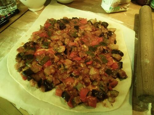Pizza ratatouille et Fontina