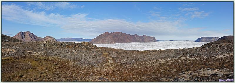L'approche, en vues panoramiques, du belvédère surplombant le Glacier Bowdoin - Région de Qaanaaq - Groenland