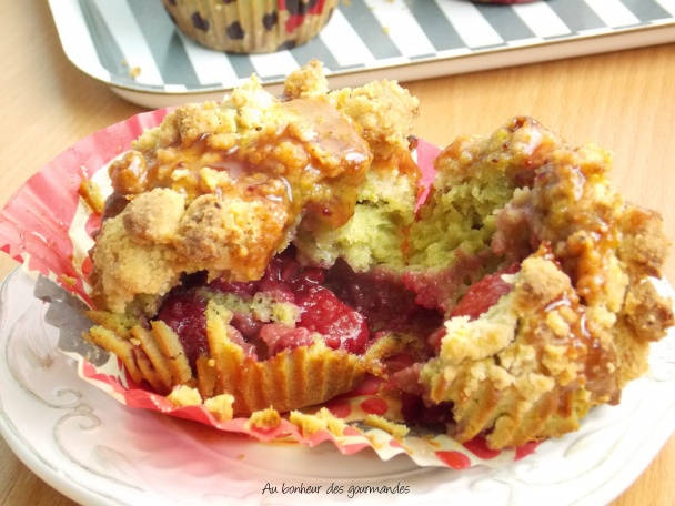 Muffins frampistache et topping crumble