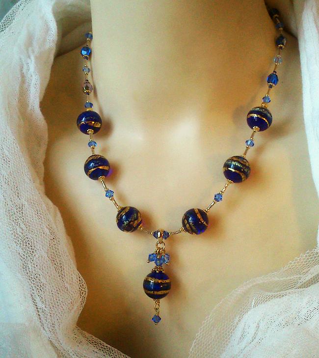 Collier Pendentif  Verre de Murano authentique Bleu Cobalt Feuille d'Or 24 kt, Cristal de Swarovski / Plaqué Or