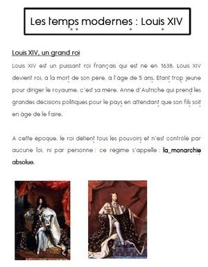 Les temps modernes- Louis XIV