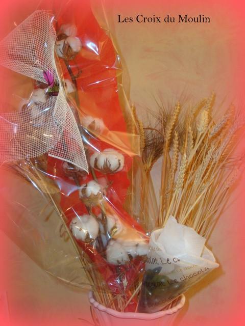 Rachel a offert de trés belles fleurs de coton et Sophie un cornet de chocolat. Miam miam. On les a mangé lors cette soirée anniversaire.