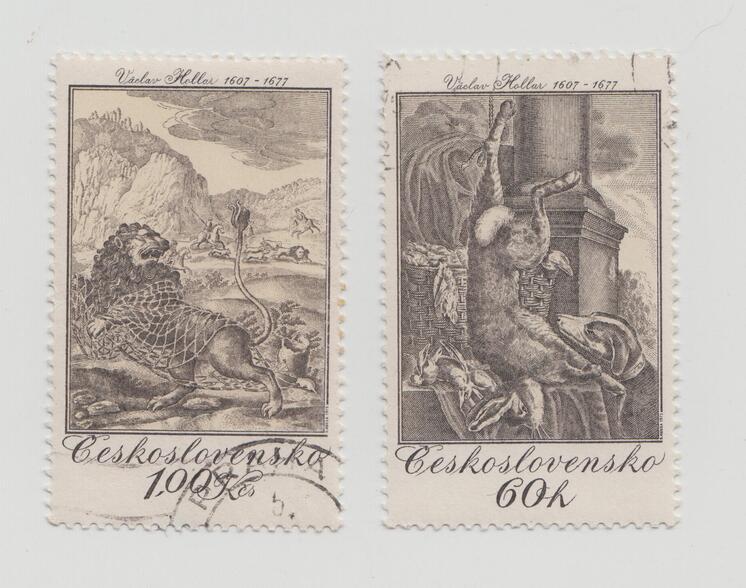 Tchéchoslovaquie - 1975 - Nature morte avec lièvre - Le lion et le rat fable d'Esope