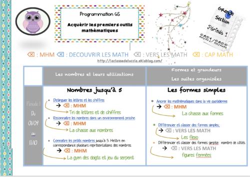 Prog math GS période 1 mix 4 méthodes dont MHM