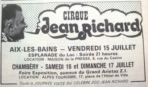 le cirque Jean Richard en Savoie  en 1977 ( archives Thierry Pajean)