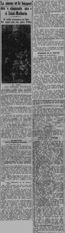 Un centenaire fêté à Mazé (49) en avril 1933