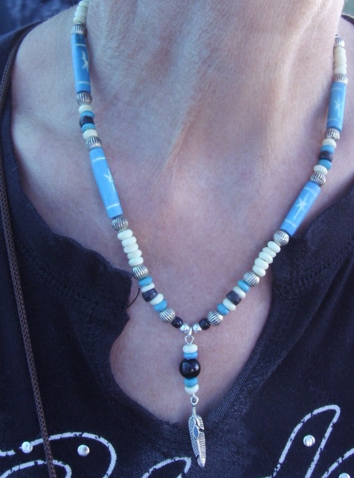 collier country dans les tons turquoise