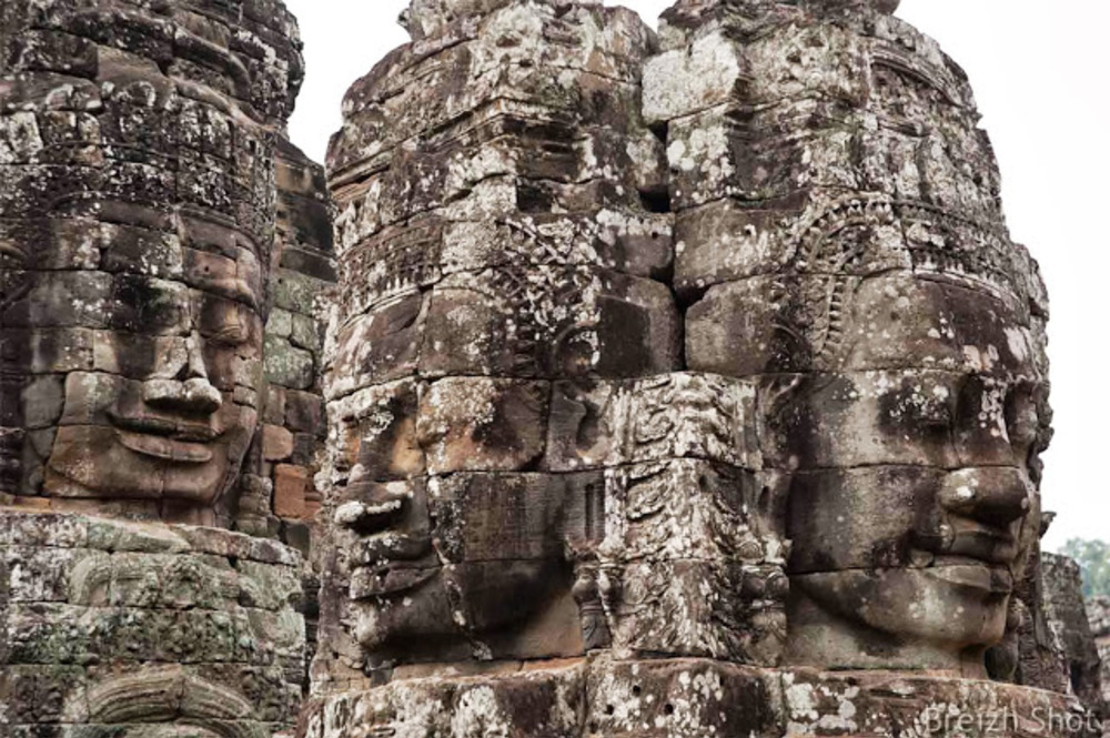 Angkor Thom, le Bayon - visages à 4 faces