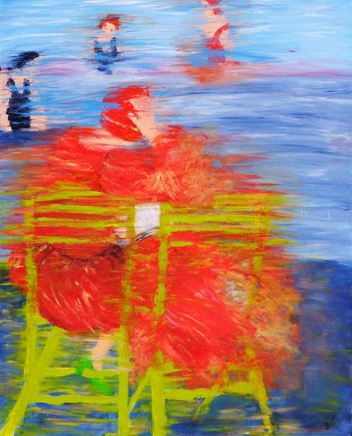 """299. Lecture au bord de la piscine (inspirée par John Lavery) mai 2012. Voir dans poèmes """"le regard qu'une amie a eu sur cette toile."""