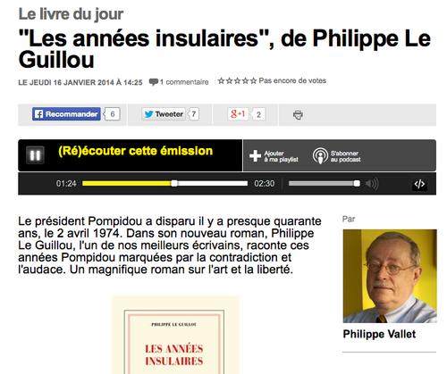 Philippe Le Guillou sur France-Info pour Les Années insulaires