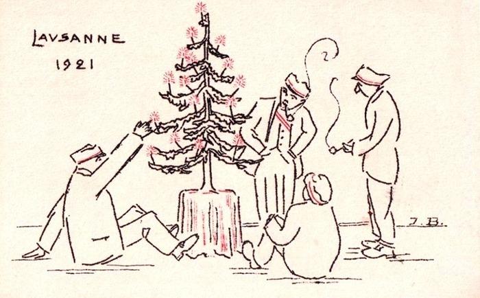 Noël 1921 (carte postale d'étudiants de l'Université de Lausanne. Illustration de J. B., selon le procédé de thermogravure)