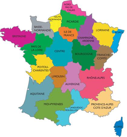 Géo2 Le découpage administratif de la France : Les 22 régions de la France métropolitaine