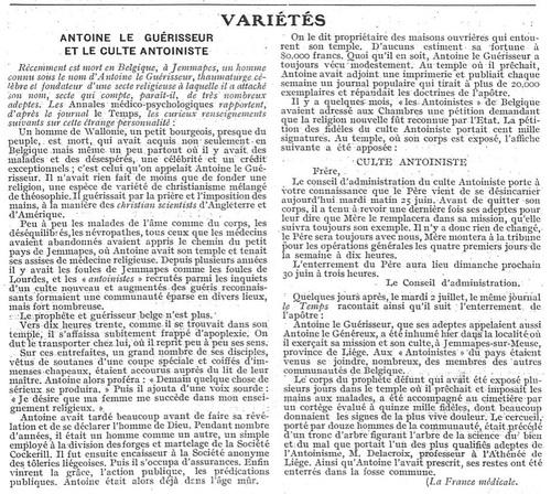 Antoine le Guérisseur et le culte anoiniste (Paris médical, la semaine du clinicien, 1912, p.895)
