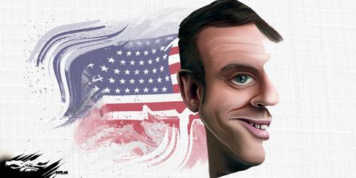 dessin de JERC du lundi 30 Avril 2018 caricature Emmanuel Macron Donald Trump Je t'aimais, je t'aime et je t'aimerai www.facebook.com/jercdessin @dessingraffjerc