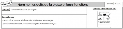 Nommer les outils de la classe et leurs fonctions