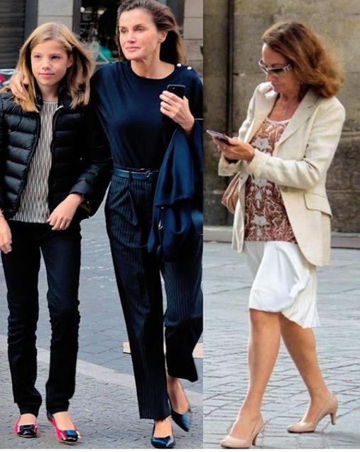 Letizia et ses filles dans Madrid