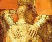 """( I ) PSC : Petit Sourire en Coin, cher à """"l'escrutateur"""". ( II ) Superbe tableau de Salvator Dali. ( III ) Rembrandt : le retour du fils prodigue. ( IV ) Même tableau : détail. ( V ) Dessin très simple, inspiré sans doute de Rembrandt - et pas l'inverse. Un beau symbole du vrai Christ, par delà nos petites, et bien innocentes ( du moins celle du jour ) plaisanteries.  -"""