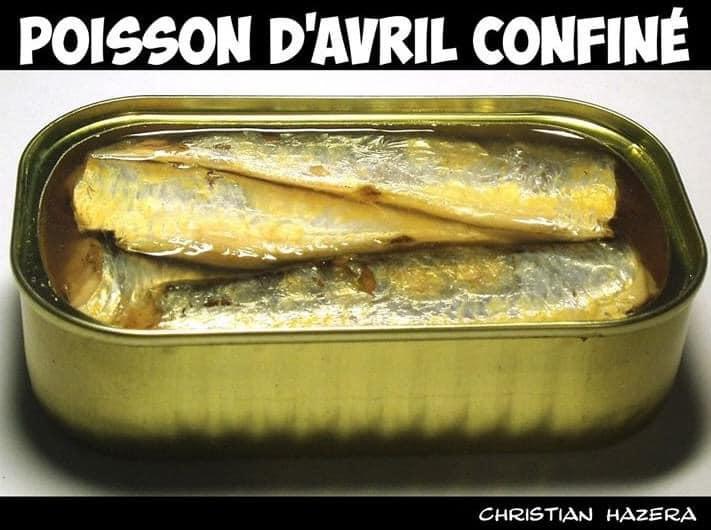 L'image contient peut-être: nourriture, texte qui dit 'POISSON D'AVRIL CONFINE CHRISTIAN HAZERA'