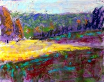 Dessin et peinture - vidéo 2099 : Un paysage coloré peint avec des pastels .