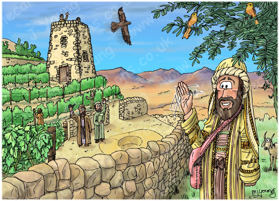 Matthew 21 - Parable of the Wicked Tenants - Scene 01 - Owner leaves 980x706px col.jpg