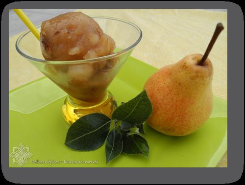 Sorbet poire vanille, pépites croustillantes de noix et pignons