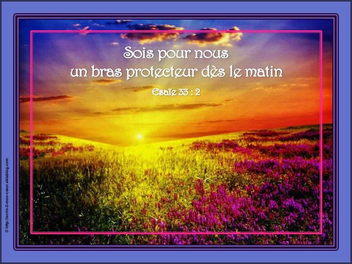 Sois pour nous un bras protecteur dès le matin - Esaïe 33 : 2