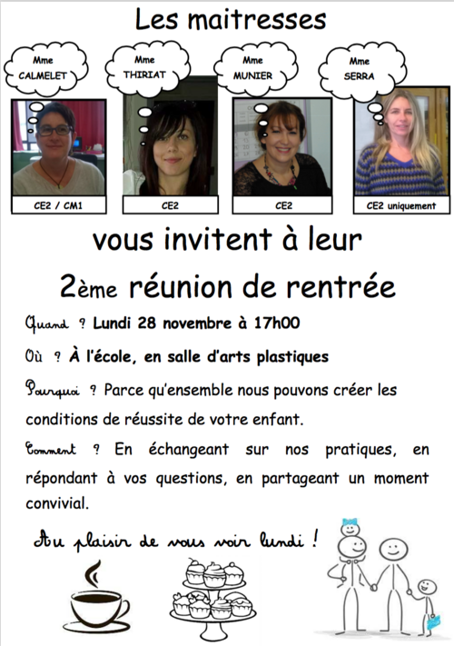 Parents de CE2 et CM1, invitation...