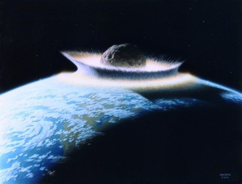Planetoid crashing into primordial Earth