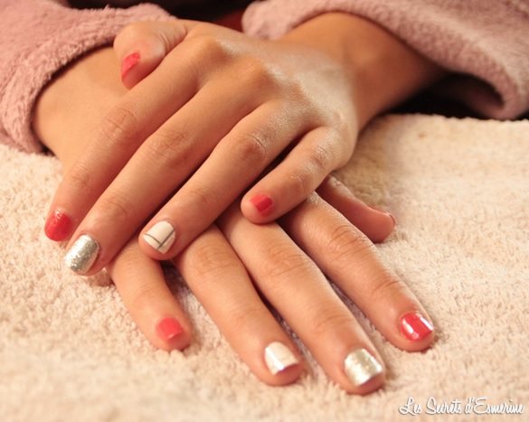 manucure, rentrée, 2014, nail art, kiko, miss europe, lm cosmetic, rose, argent, blanc