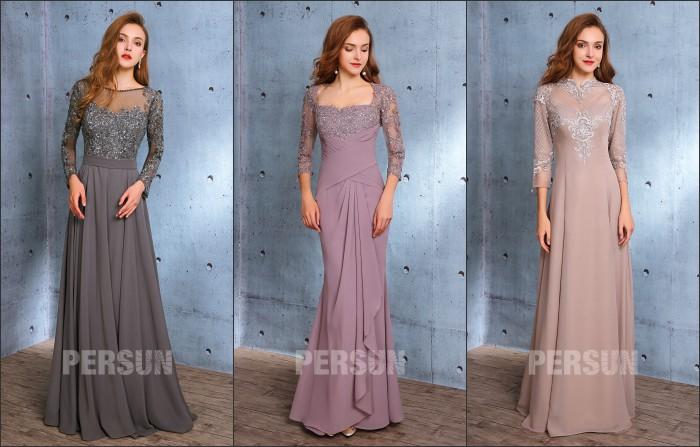 robes de soirée longues avec manche appliqué de dentelle