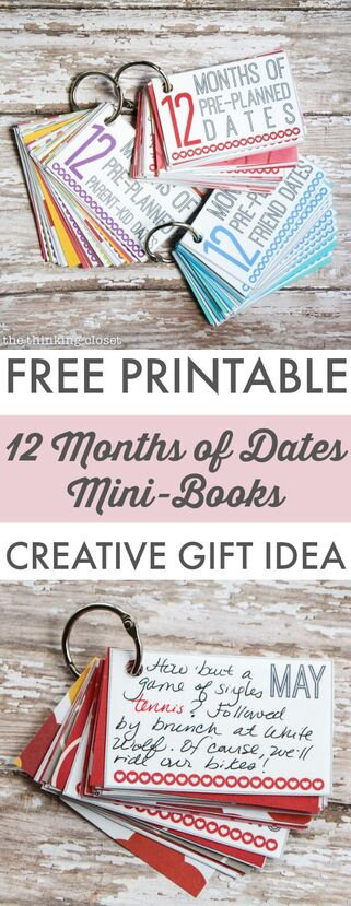 12 Months of Pre-Planned Dates Mini-Book | ThinkingCloset.com | #DIY #DateNights #Freebie:
