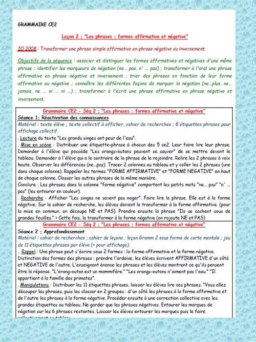 Grammaire CE2 - Séq2 : Les formes affirmatives et négatives