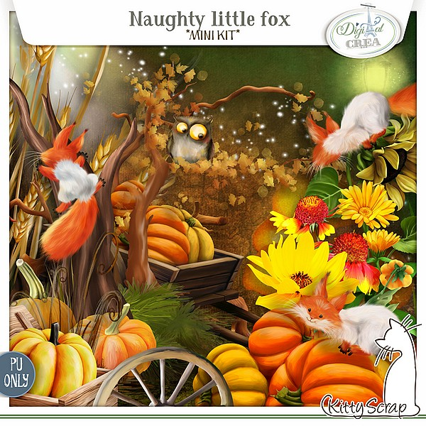 mini kit Naughty Little fox de kittyscrap