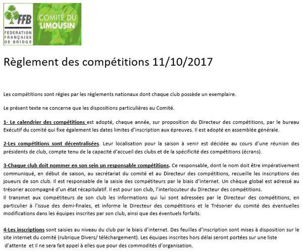 Réunion Board Comité du 11 octobre 2017  &  Règlement des Compétitions