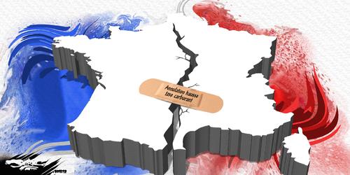 dessin de JERC du vendredi 07 décembre 2018 caricature Pansement sur une jambe de bois Macron en découpant se ment www.facebook.com/jercdessin @dessingraffjerc
