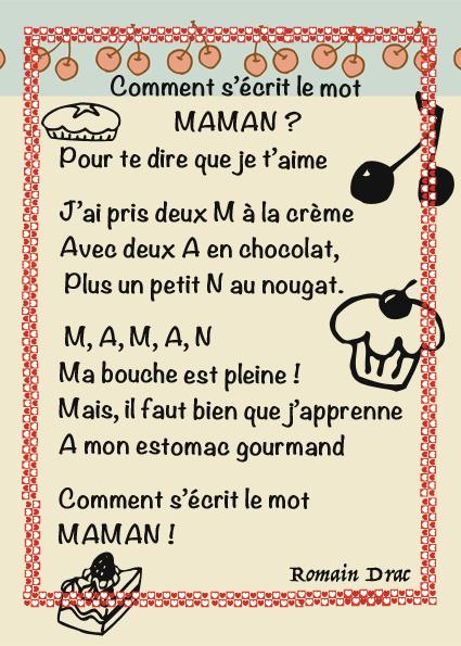 Préférence poème pour maman gourmande - La classe de Luccia ! EO13