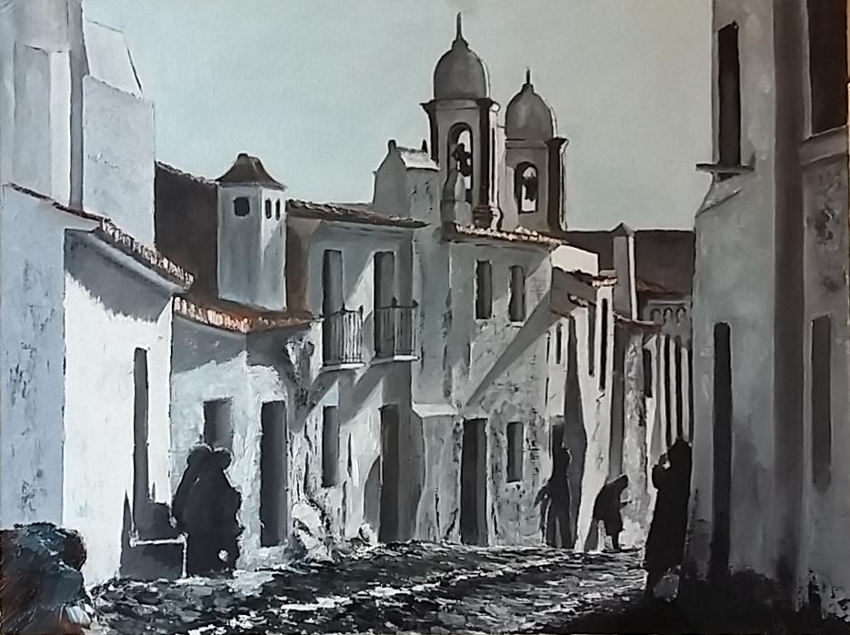 Peinture huile rue autrefois