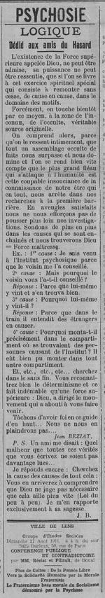 Dédié aux amis du Hasard (Le Fraterniste, 24 août 1911)