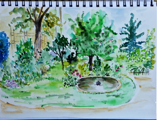 croquis aquarelle au jardin des Archives Nationales 26 09 2015