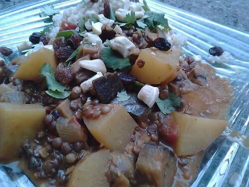 Curry doux de lentilles et aubergines {Vegan}