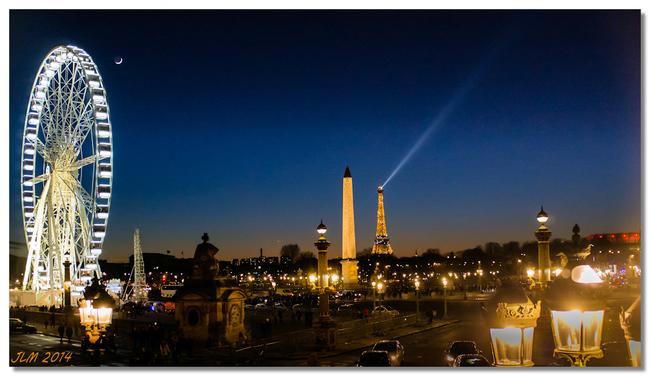 Lune sur la place de la concorde paris
