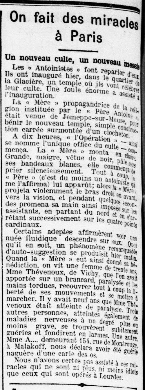 On fait des miracles à Paris (Le Voltaire, 27 octobre 1913)