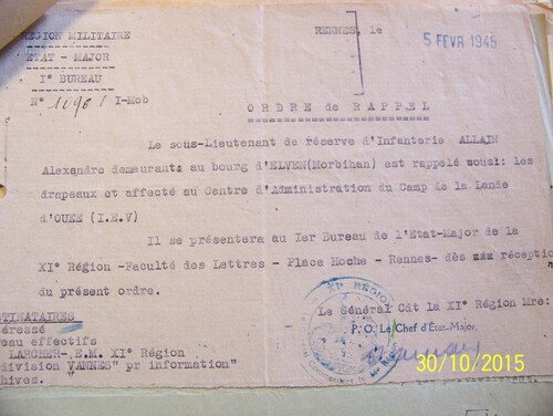 Document d'archive de 1945 avant le 8 mai