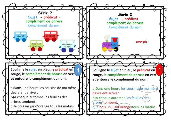 Cartes autonomie pour l'analyse de phrase série 2 : sujet-prédicat-CDPhrase-CDnom