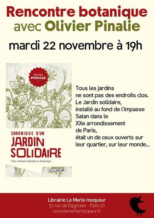 Rendez-vous le mardi 22 novembre: Rencontre botanique avec Olivier Pinalie.