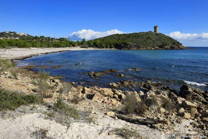 La plage de la Tour de Fautea en Corse-du-Sud
