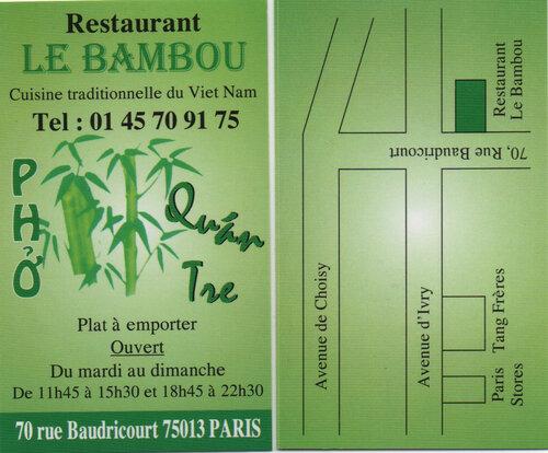 """Le Bambou  - Pas """"n'importe quel Vietnamien du 13°"""" - Ze One."""