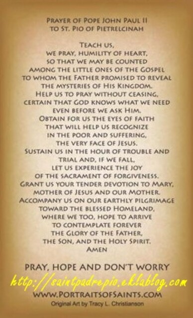 Prayer of Pope John Paul II to St Pio of Pietrelcina