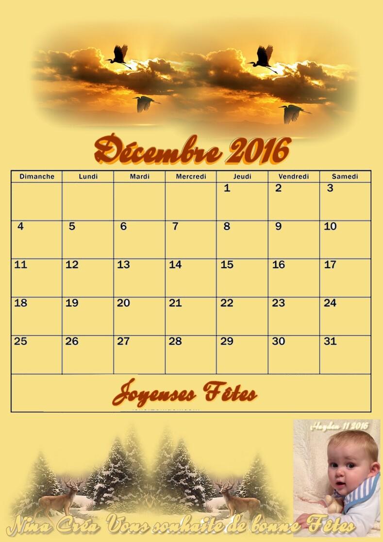 Calendrier de Décembre 2016